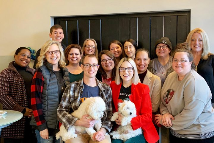 Columbia Marketing Group Christmas 2020 staff picture - with dogs!